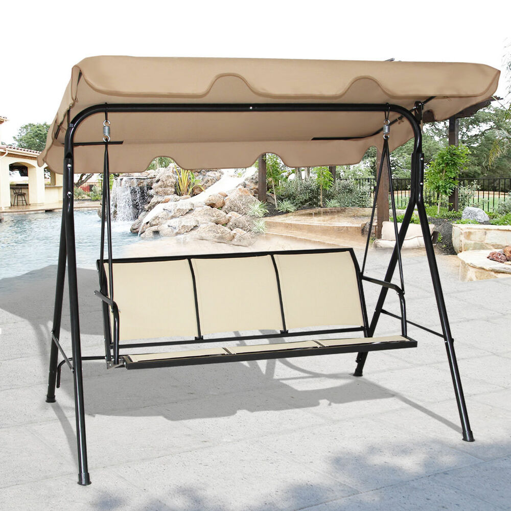 Costway 3 person patio swing outdoor canopy awning yard for By the yard furniture