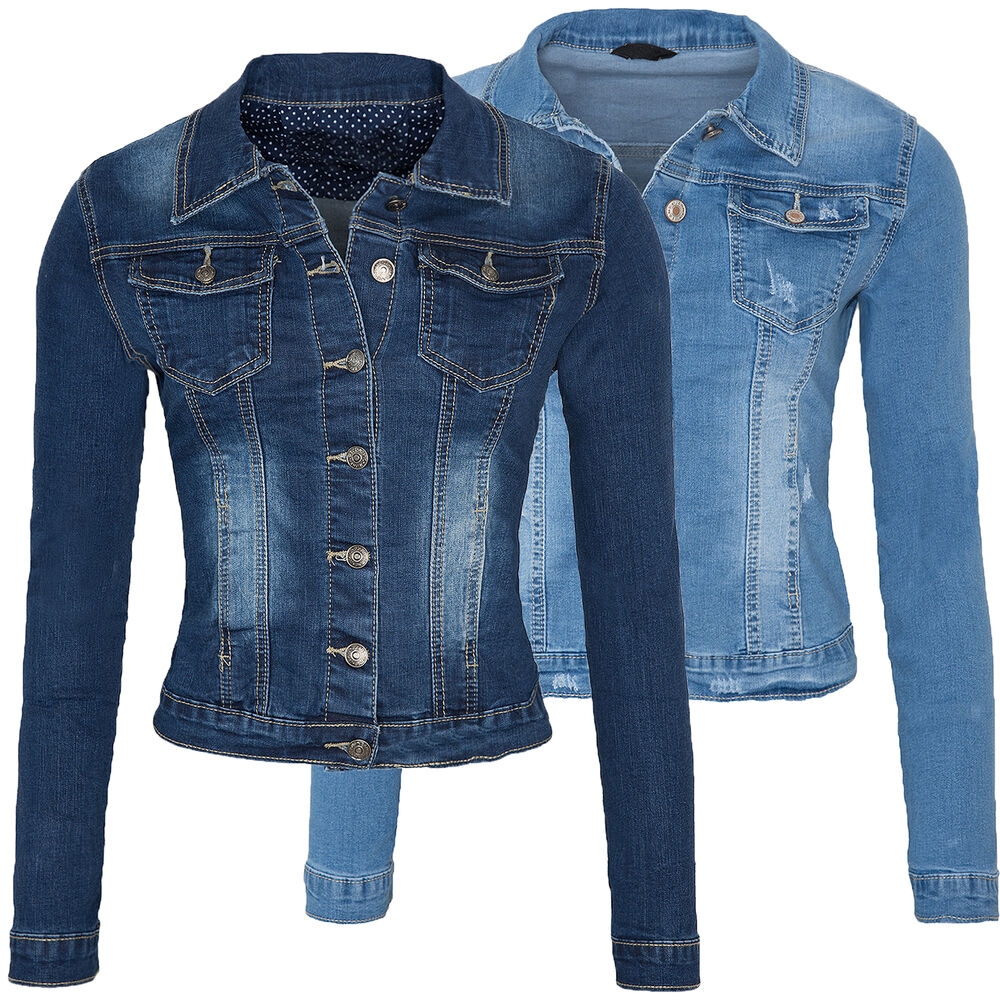 damen jeans jacke used look women blue denim jacket blau. Black Bedroom Furniture Sets. Home Design Ideas