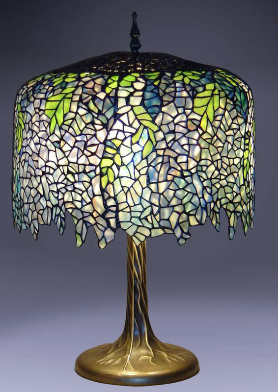 new tiffany style wisteria table lamp stained glass. Black Bedroom Furniture Sets. Home Design Ideas