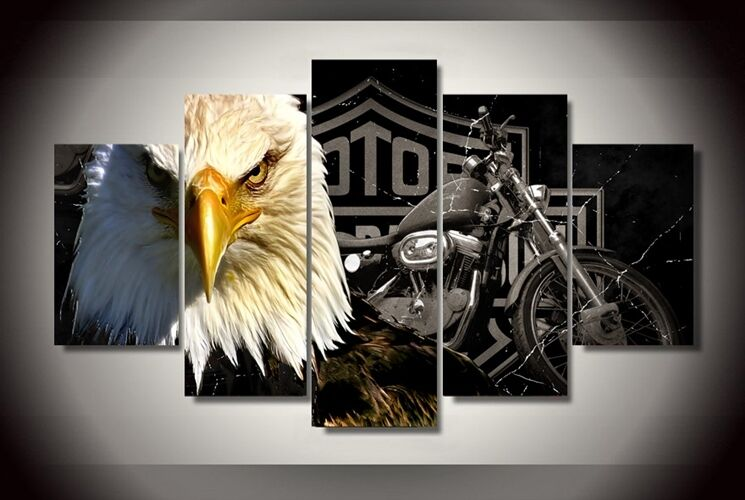 framed picture harley davidson motor cycles eagle printed harley davidson bike repurposed steel wall art motorcycle