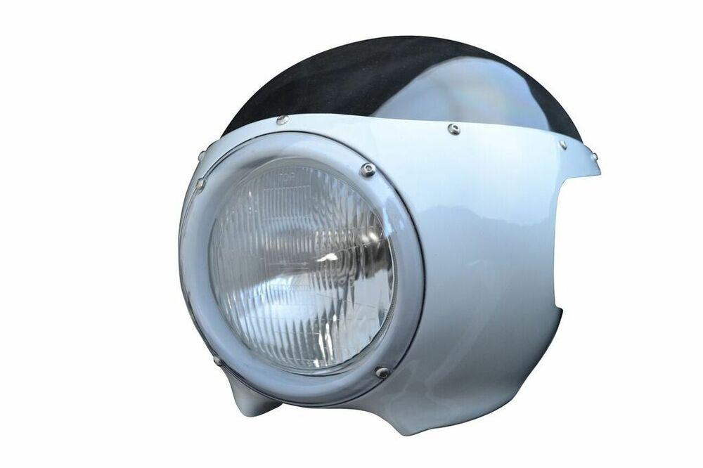 Cafe Racer Headlight Assembly : White cafe racer fairing cowl with clear windshield and