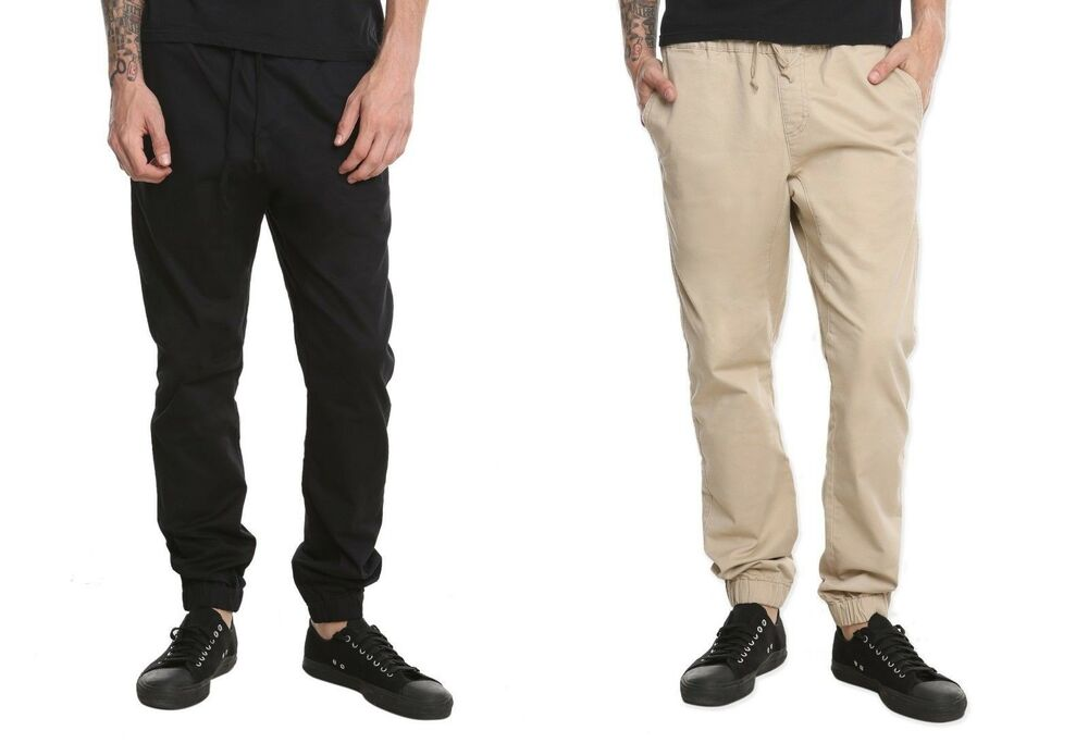 Beige Joggers Black Shoes Men