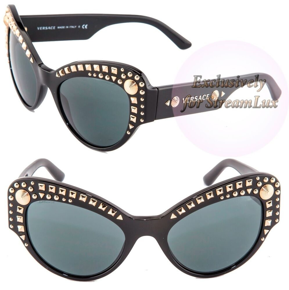 f6417523ca5 VERSACE Sunglasses VE 4269 GB1-87 Black Silver Gold Studs LIMITED by LADY  GAGA