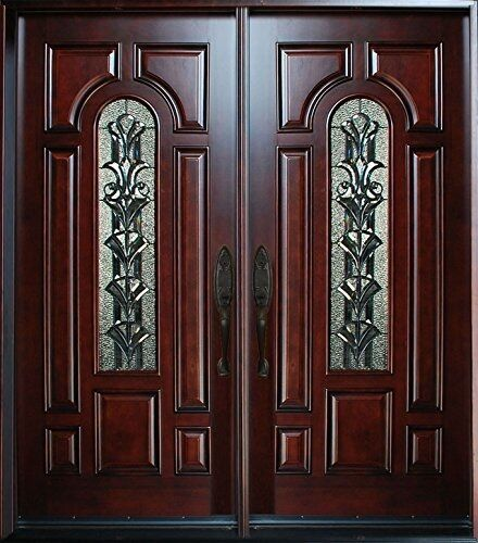 Exterior front entry double wood door m280a 36 x80 x2 for Residential main door design