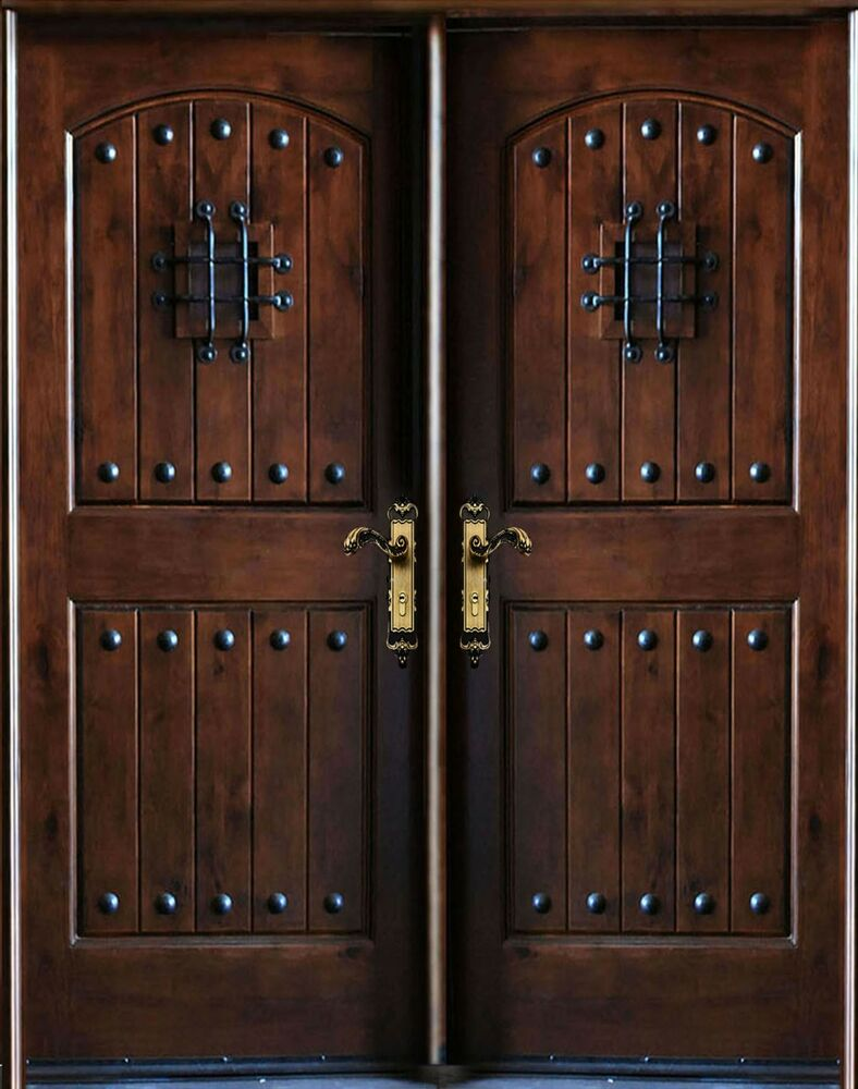 Knotty alder exterior front entry double door 30 x80 x2 for Types of wood doors are made of
