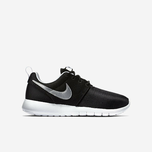 detailed look 524d1 cb0e5 Details about 599728-021 Kids  Nike Roshe One (GS) Shoe!! BLACK WHITE WHITE METALLIC  SILVER!!