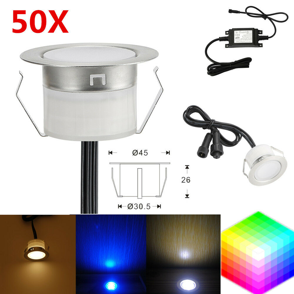 50Pcs 45mm 12V Outdoor Path Stair Garden Recessed LED Deck