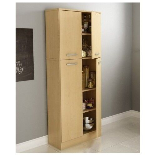 kitchen pantry cabinet storage organizer cupboard tall wood shelf shelves doors ebay. Black Bedroom Furniture Sets. Home Design Ideas