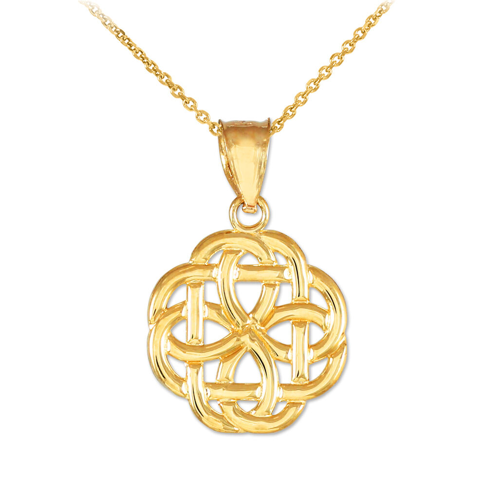 10k High Polished Gold Trinity Knot Charm Pendant Necklace