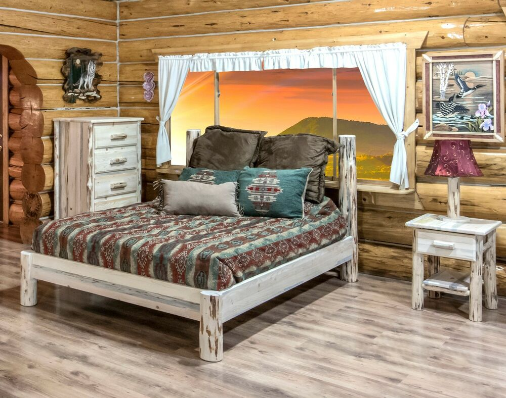 AMISH Log Bedroom SET Rustic Log Cabin Bed Dresser And Nightstand Set QUEEN B
