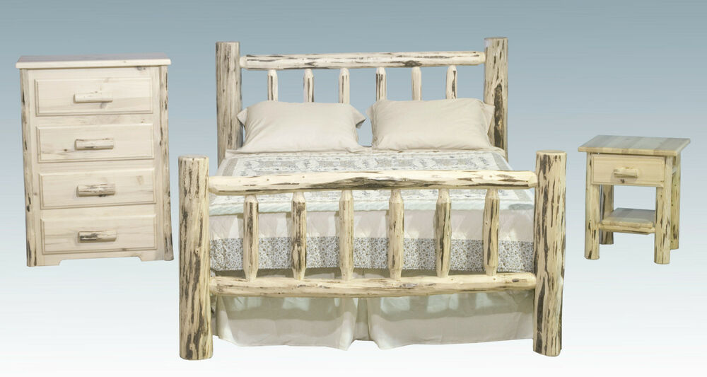 Log bedroom furniture sets amish made rustic bed dresser and nightstand set ebay - Amish bedroom furniture ...