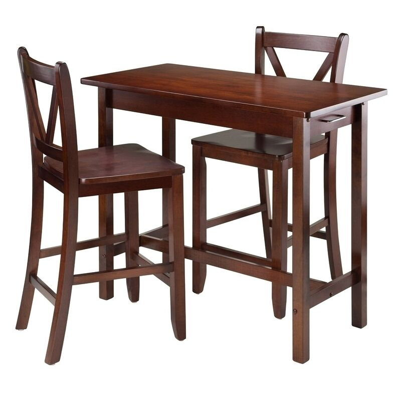 Winsome 3 pc kitchen island table w 2 v back stool 94364 table set new