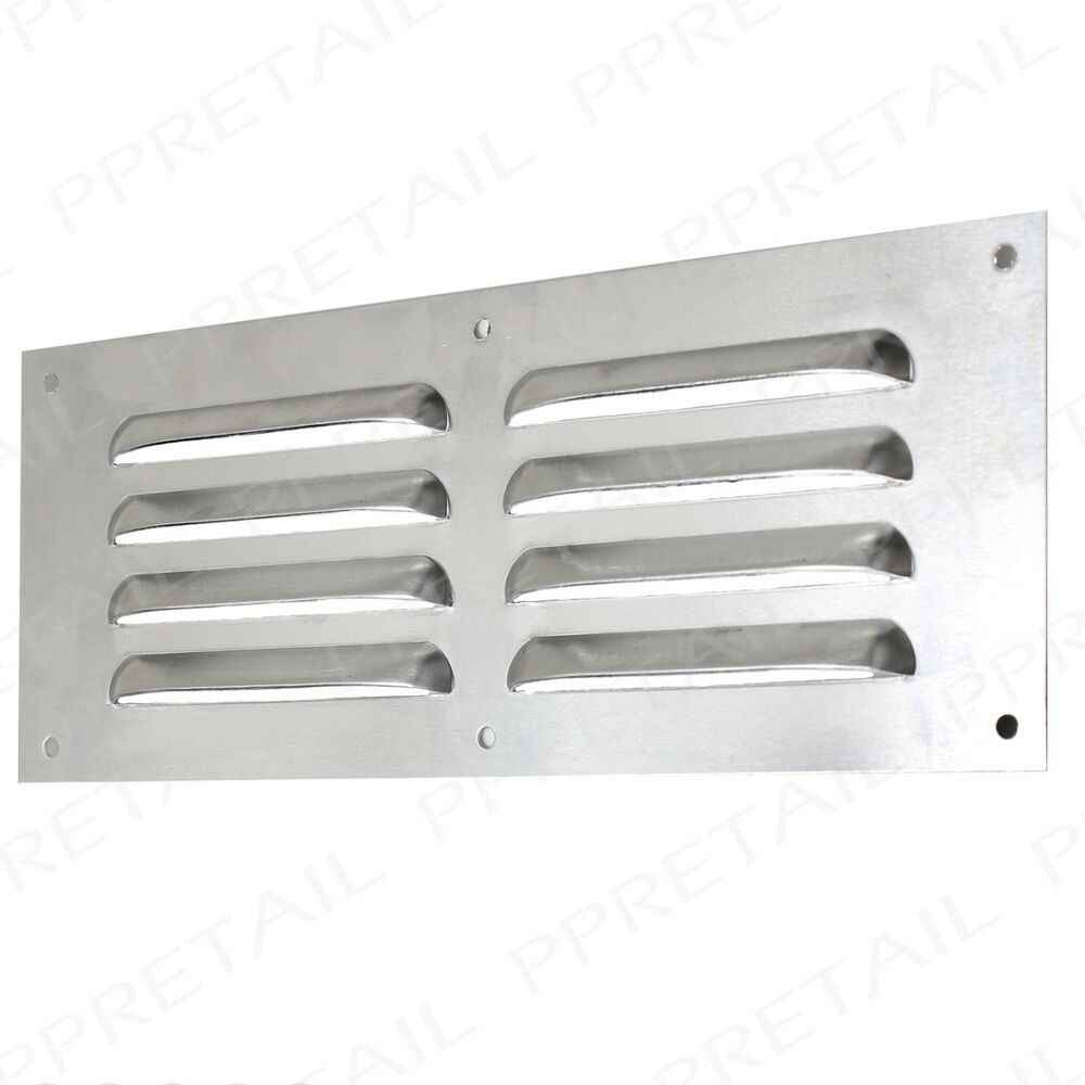 aluminium louvre air vent 9 x 3 silver grille cover. Black Bedroom Furniture Sets. Home Design Ideas
