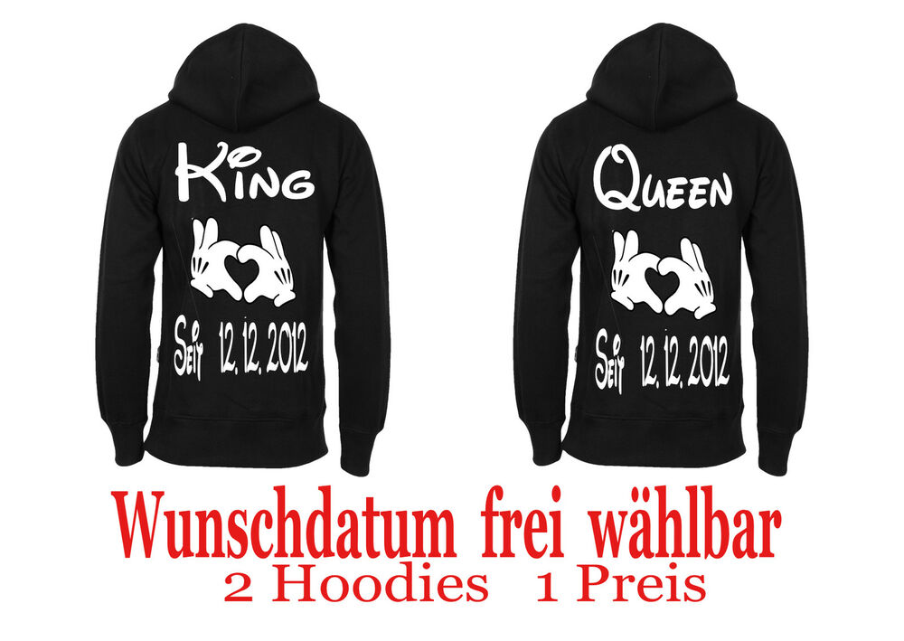 king queen pullover hoodie partner look couple. Black Bedroom Furniture Sets. Home Design Ideas