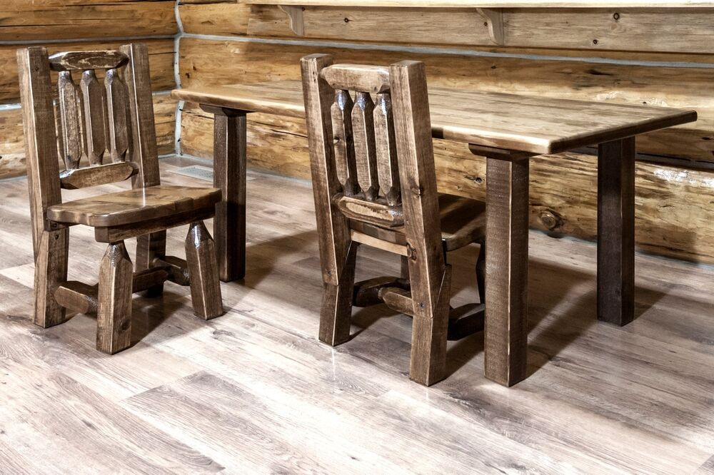 Wooden Kids Table Chairs Set Amish Made Rustic Toddler