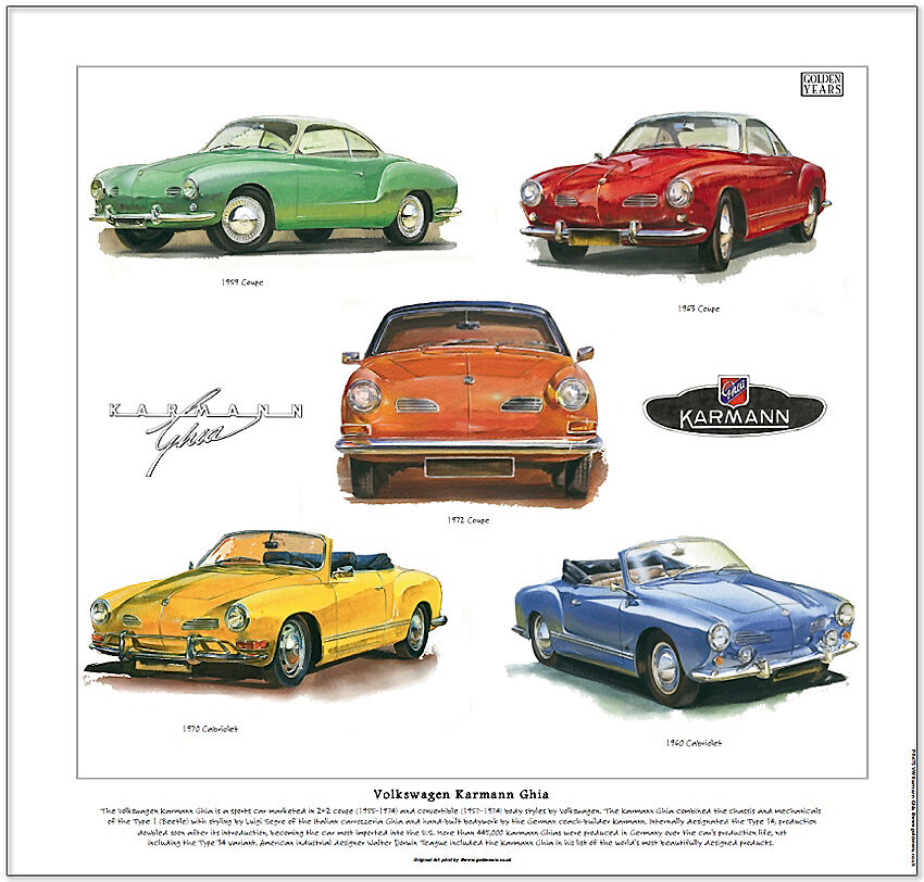 volkswagen karmann ghia fine art print coupe and cabriolet models illustrated ebay. Black Bedroom Furniture Sets. Home Design Ideas