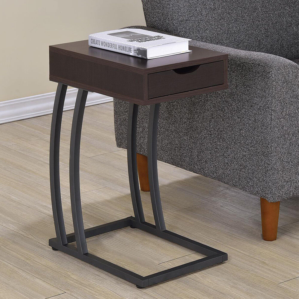 accent snack side chairside table stand drawer outlet charge wood cappuccino ebay. Black Bedroom Furniture Sets. Home Design Ideas