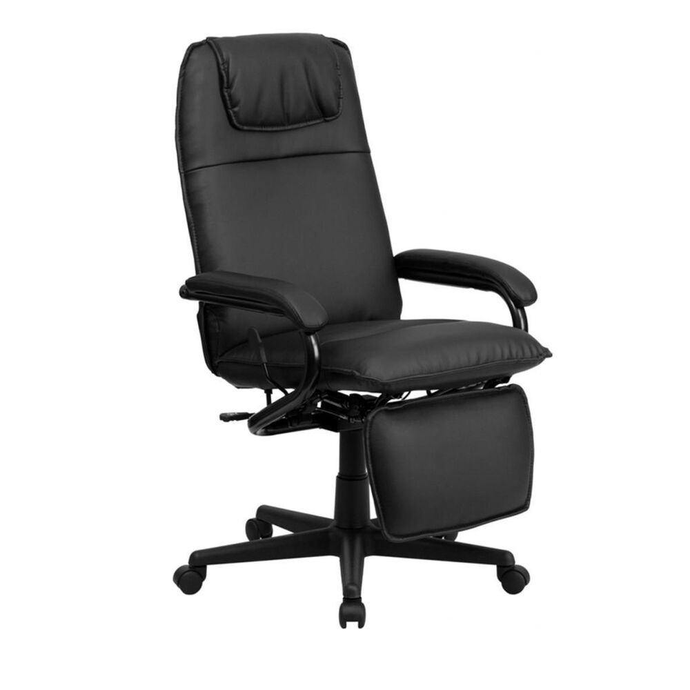 flash furniture high back black leather executive reclining office chair new ebay. Black Bedroom Furniture Sets. Home Design Ideas