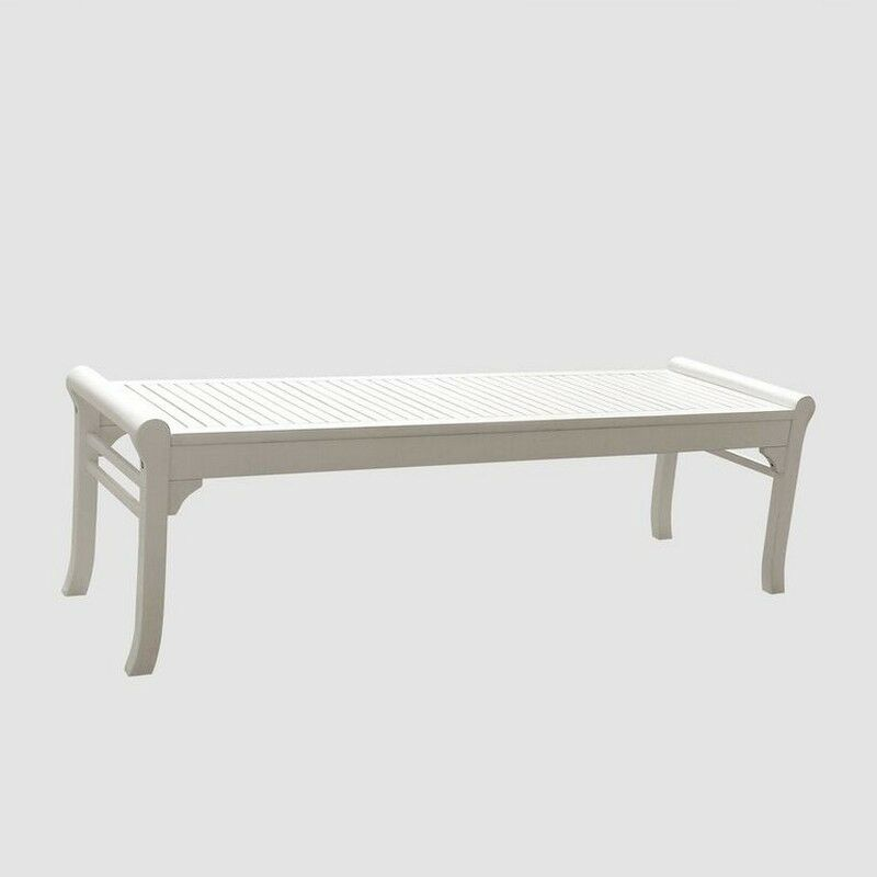 Bradley Eco Friendly 5 Foot Backless Outdoor White Wood Garden Bench V1608 Ebay