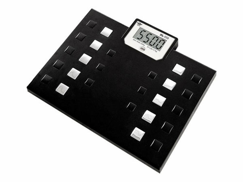 My weigh 550 lb capacity talking bathroom body weight scale xl 550 black new ebay for Large capacity bathroom scale