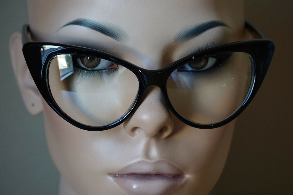 Fashion Design Clear Lens Black Cat Eye Frame Women ...