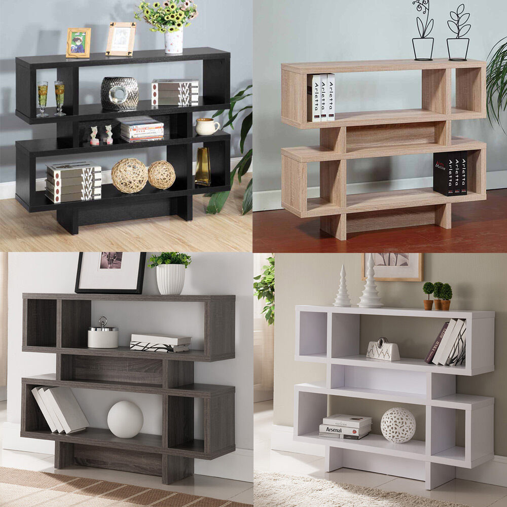 Clean lines display sofa console hallway entryway cabinet stand table shelves ebay - Sofa table with cabinets ...