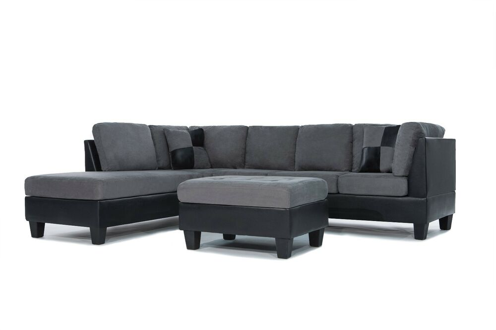 3pc Sectional Sofa Microsuede Faux Leather Grey With