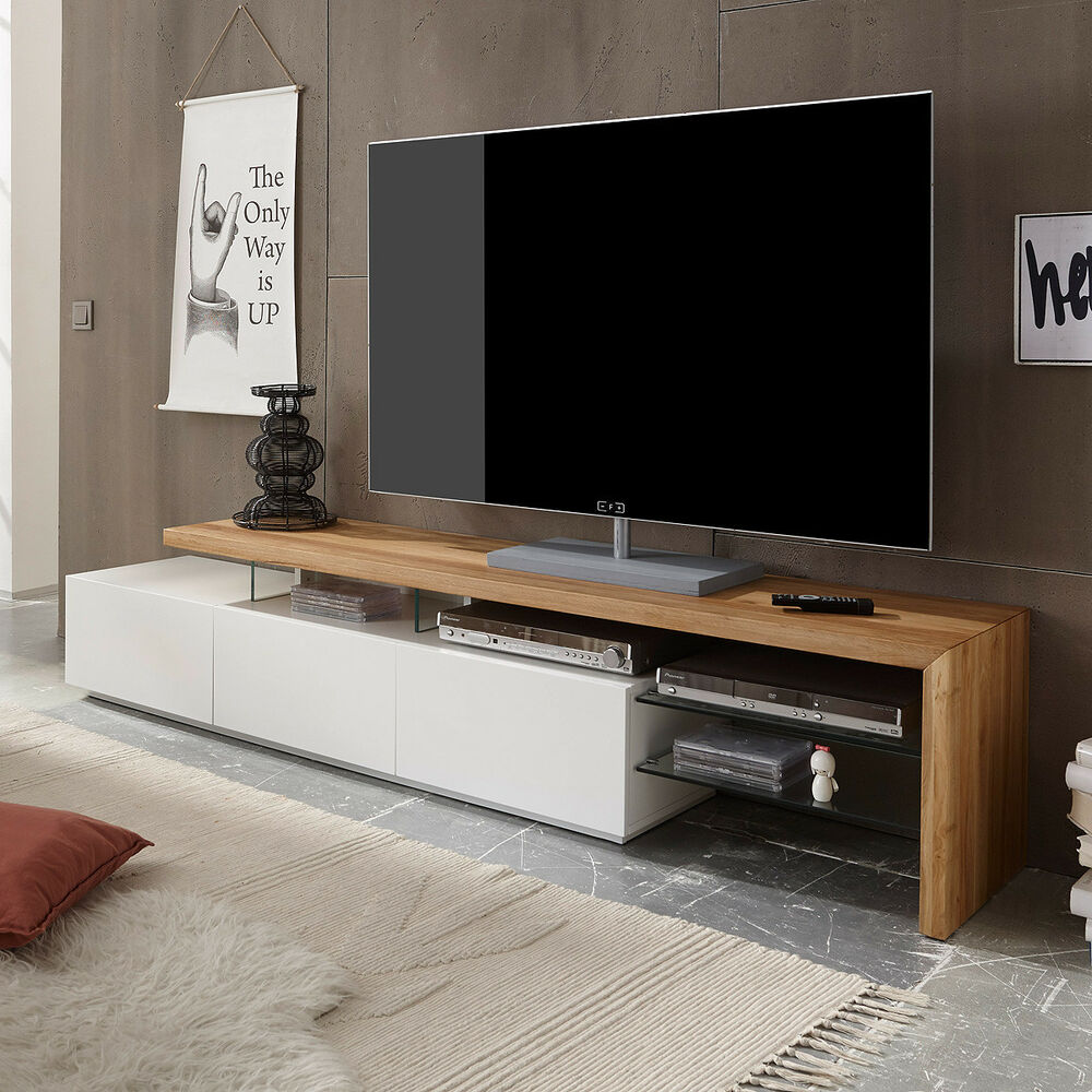 tv rack alimos tv board lowboard unterschrank wei matt lack eiche massiv ebay. Black Bedroom Furniture Sets. Home Design Ideas