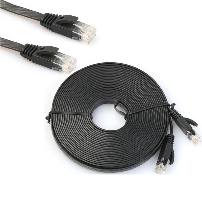 1 10m network cable rj45 lan patch lead flat cat6 ethernet modem router black ebay. Black Bedroom Furniture Sets. Home Design Ideas