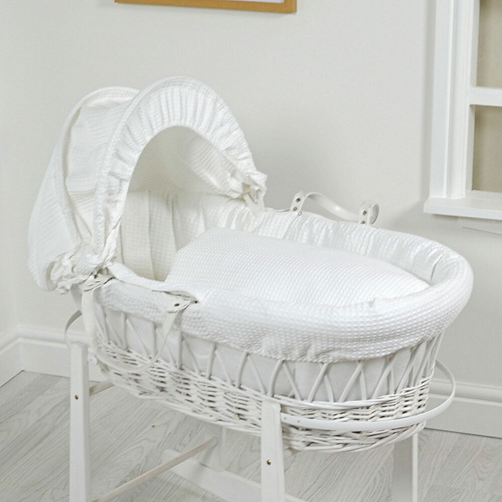 NEW 4BABY WHITE WAFFLE PADDED WHITE WICKER BABY MOSES ...