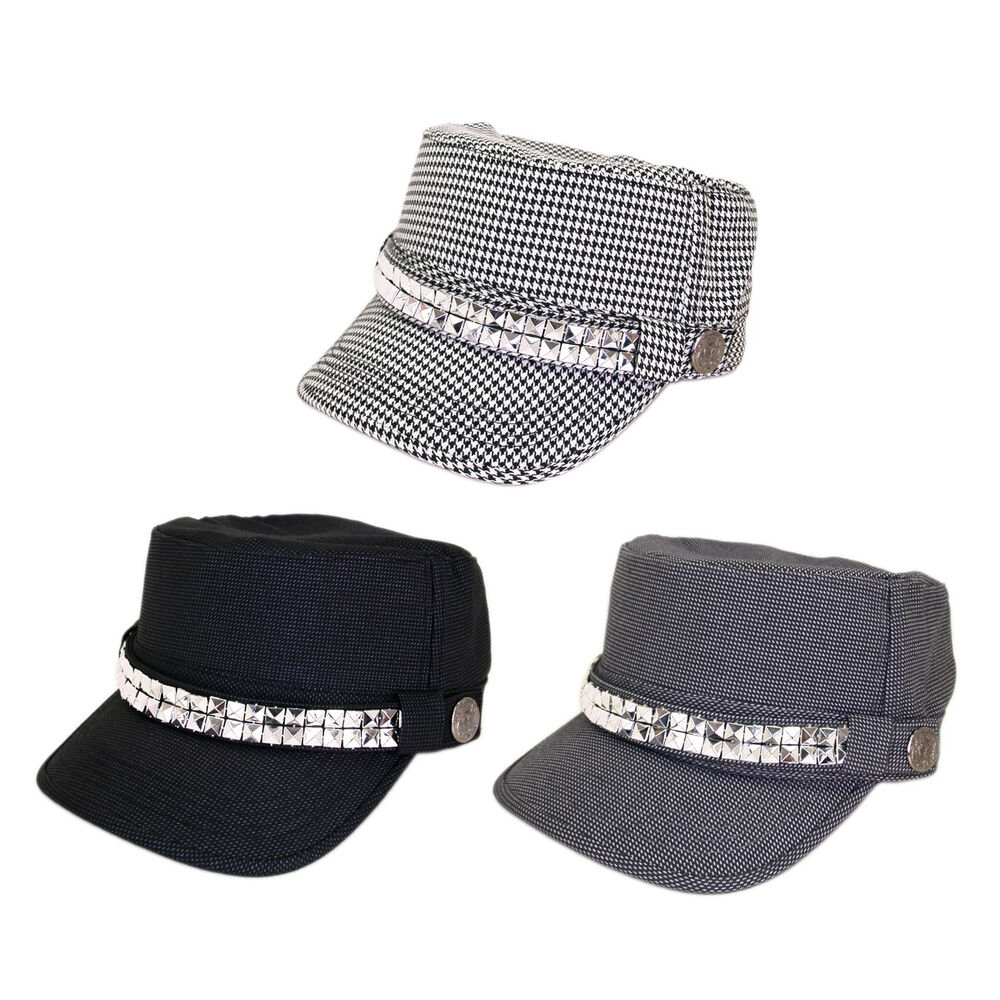 6c00ac9cb4b Adjustable Cotton Military Style Studded Bling Army Cap Cadet Hat - Diff  Colors