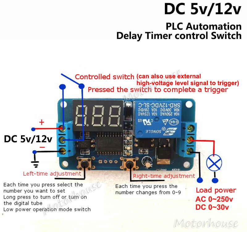 Digital Led Adjustable Delay Countdown Time Timer Switch