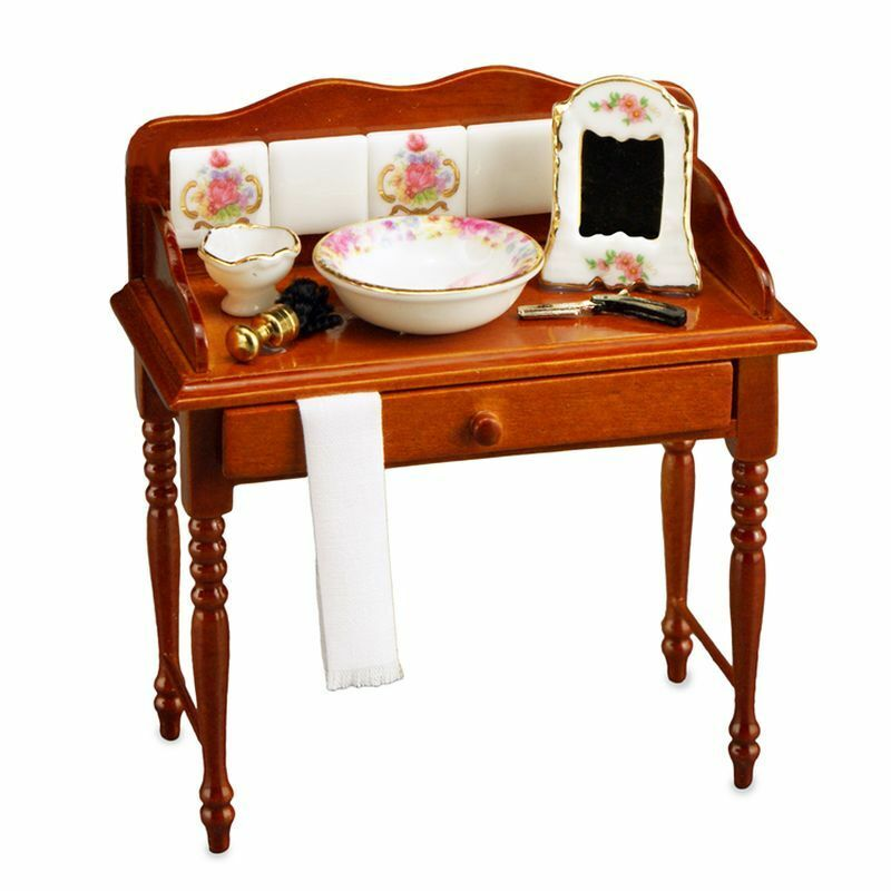 Dollhouse Miniature Dresden Rose Wash Table Set By Reutter