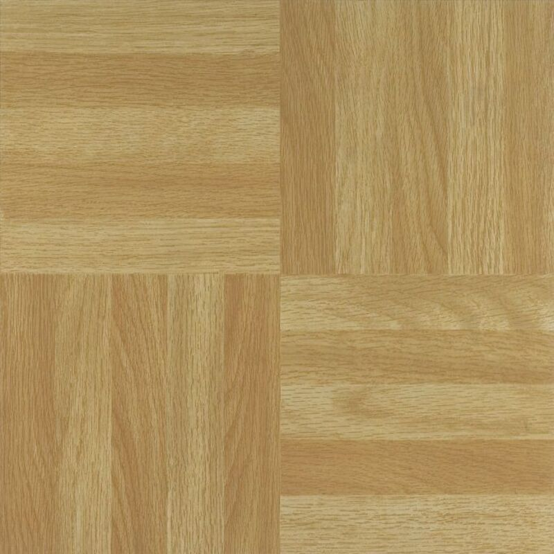 "Light Oak Plank Wood Self Stick Adhesive Vinyl Floor Tiles: NEXUS Four Finger Square Parquet 12"" X 12"" Self Adhesive"