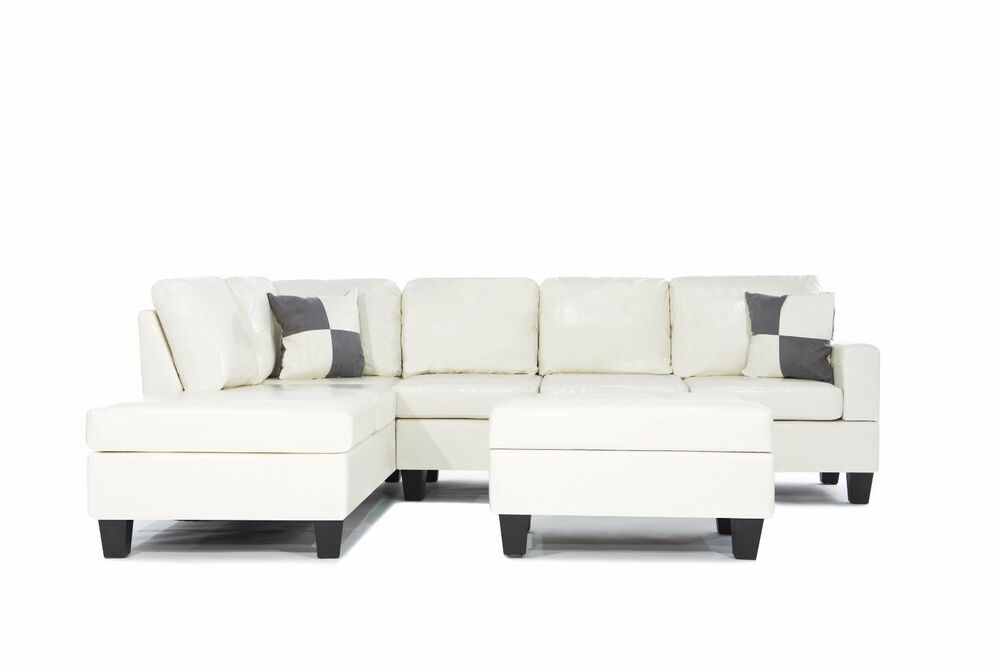 3pc bonded leather white modern reversible sectional couch for Bonded leather sectional sofa with chaise