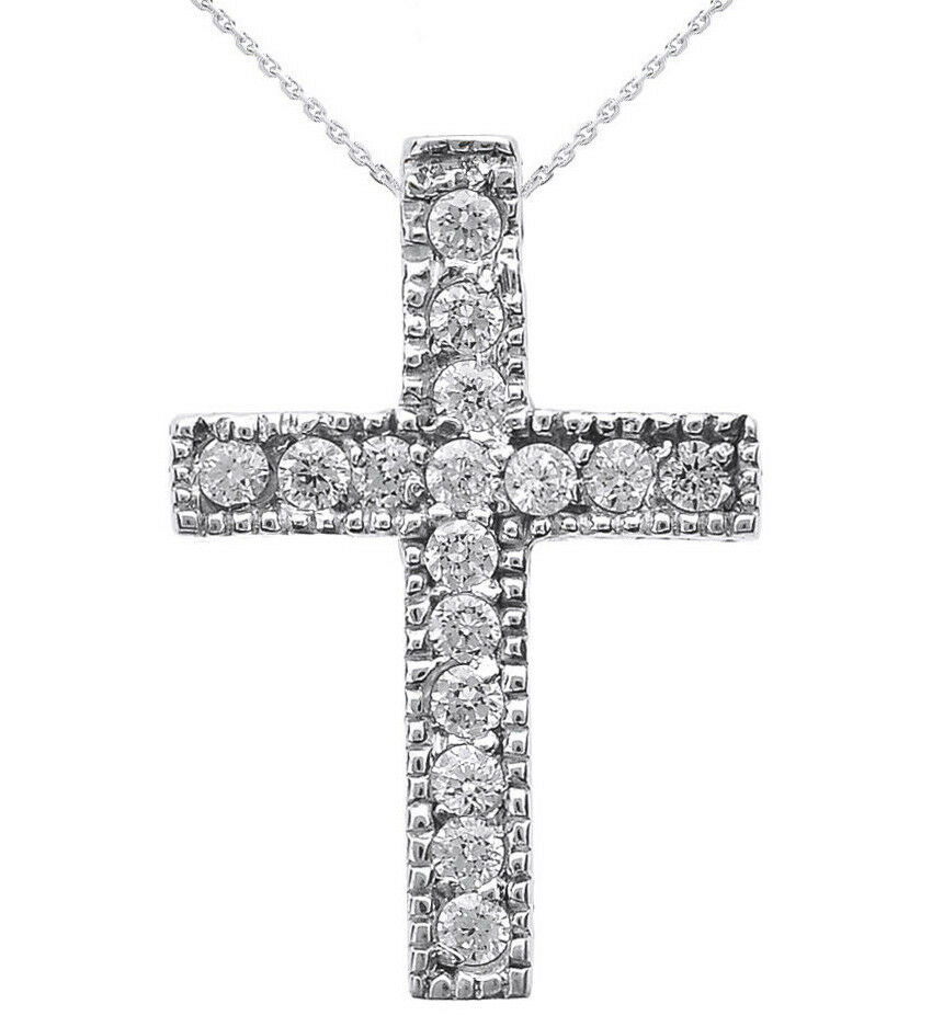 white gold milgrain edged diamond cross pendant necklace. Black Bedroom Furniture Sets. Home Design Ideas
