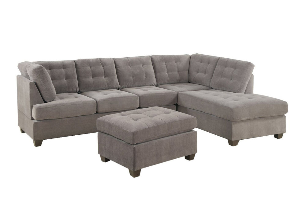 Contemporary 3pc grey sectional sofa microsuede reversible for Gray microfiber sectional sofa with chaise