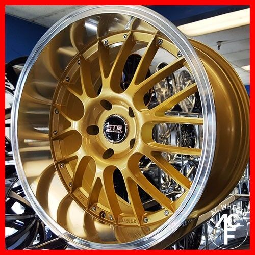 18X8.5 STR 514 WHEELS RIMS GOLD 5x114.3 +30 FIT ACURA RSX