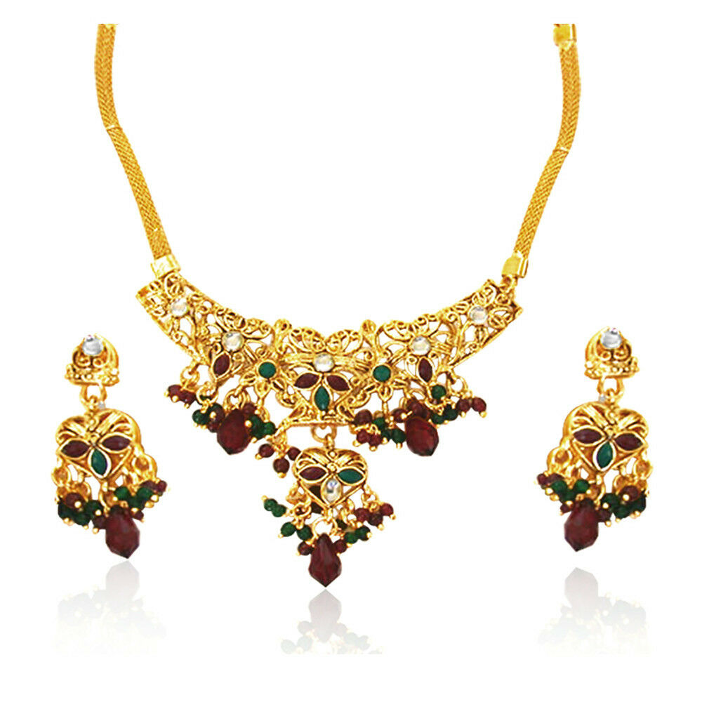 Indian Jewellery And Clothing Polki Necklace Sets From: Traditional Rajasthani Polki Fashion Jewellery Set PS7