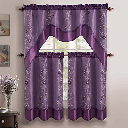 VCNY Daphne Tier & Valance 3 Piece Kitchen Curtain Set