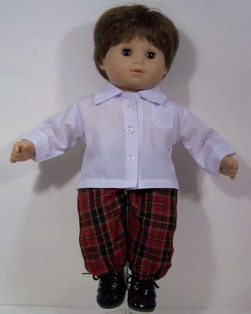 WHITE Dress Shirt w Plaid Pants Doll Clothes Bitty Baby