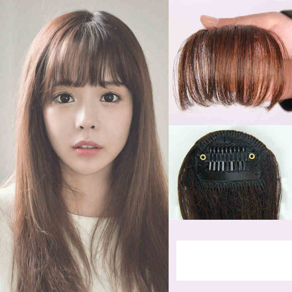 Korean Style Clip On Clip In Front Hair Bang Fringe Hair