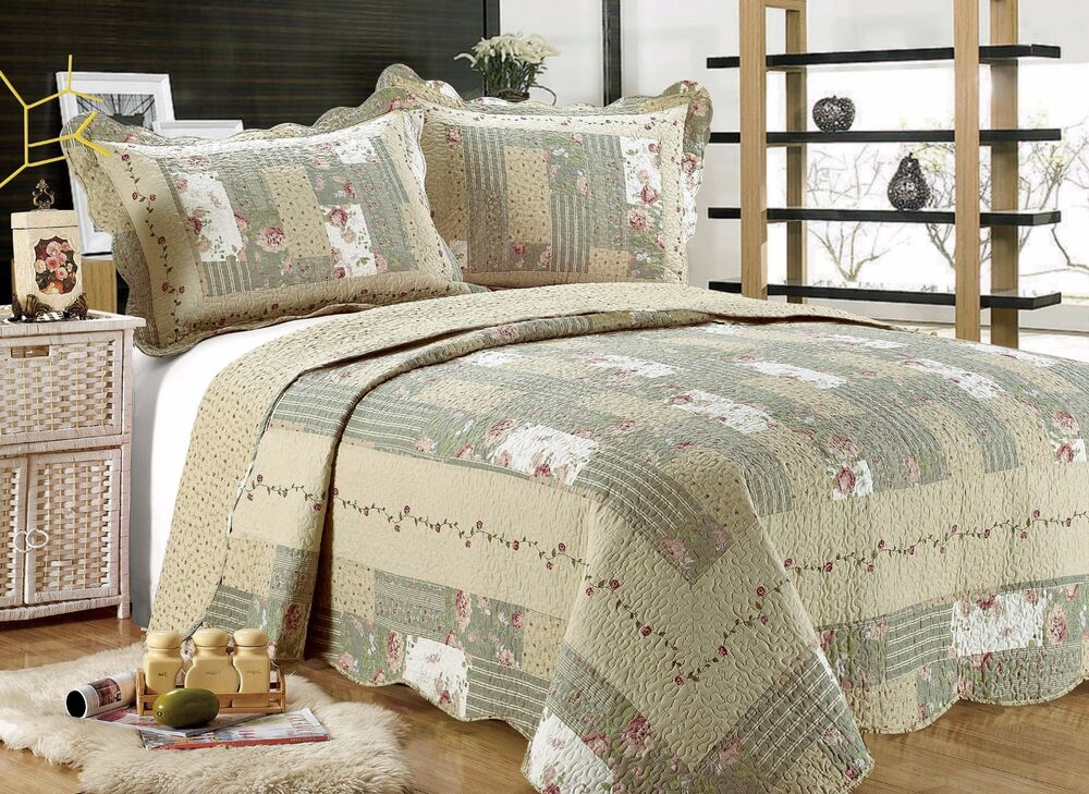 55 All For You 3pc Quilt Set Bedspread And Coverlet Gray