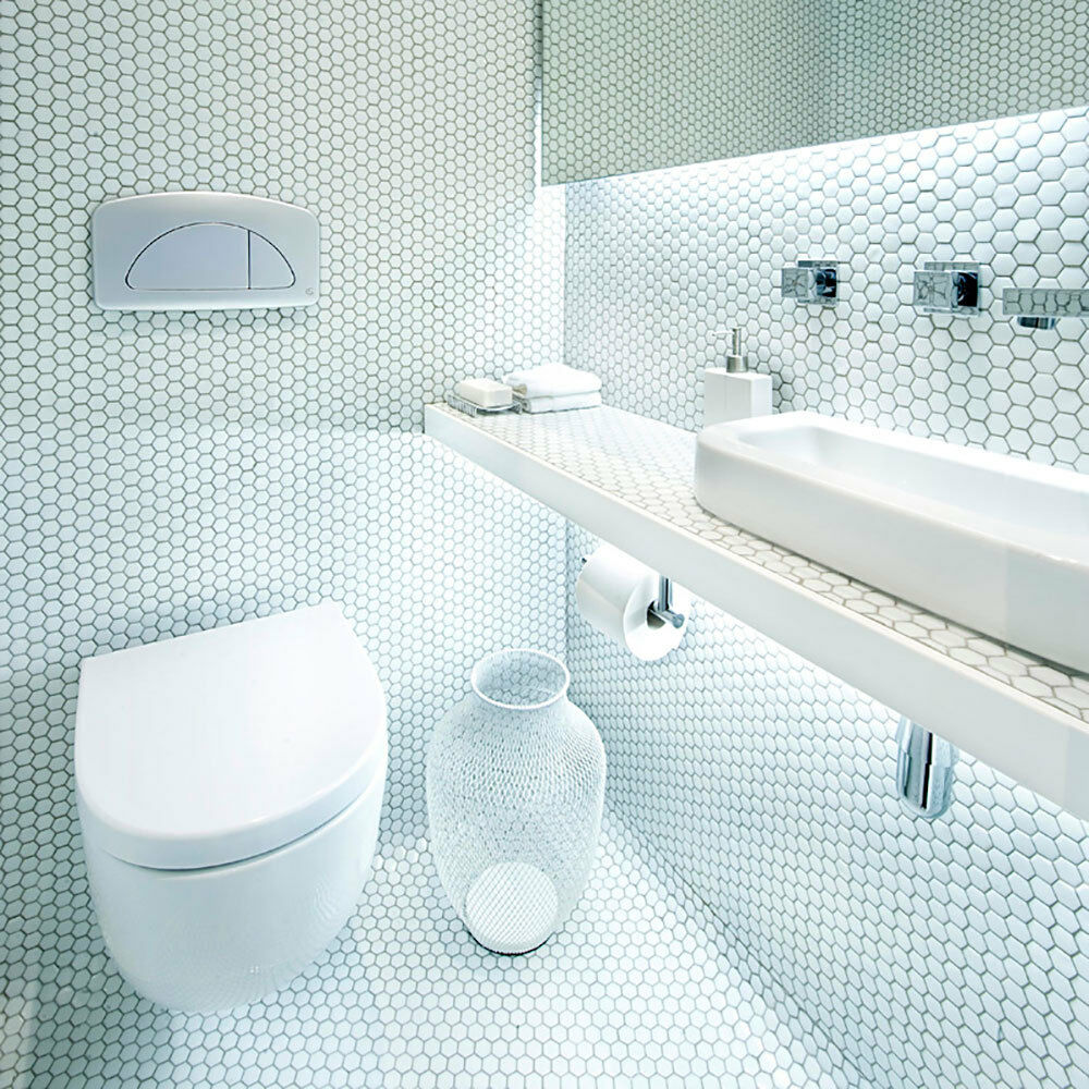White Gloss Wall Floor Tile: OL Bijou Gloss White Hexagon Mosaic 335x292x4mm Porcelain