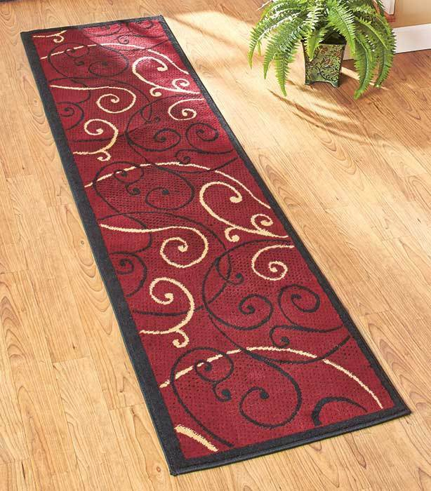 Decorative extra long burgundy floor runner rug hallway for Home decorators rug runners
