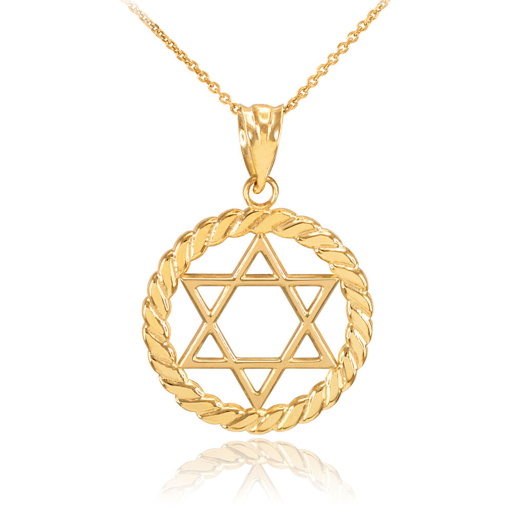Gold jewish star of david in circle rope pendant necklace for Star of david necklace mens jewelry