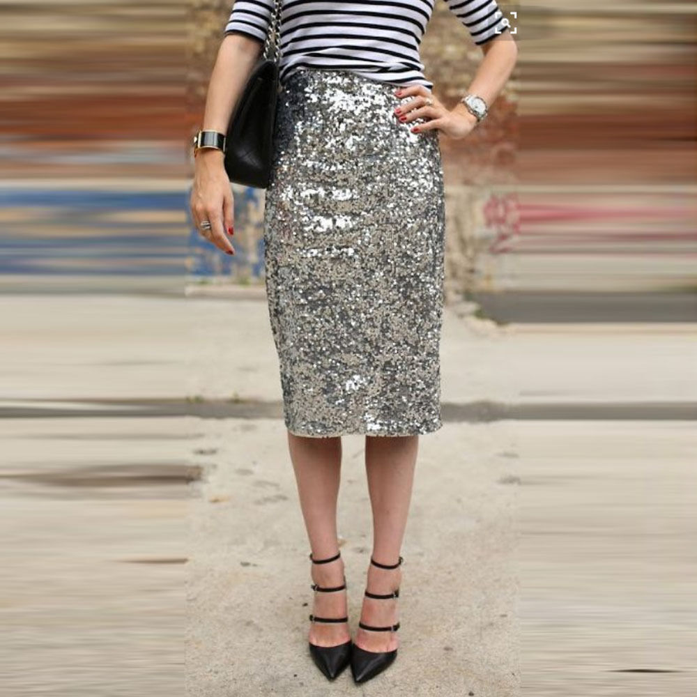 A sequined pencil skirt with a conservative pattern is suitable for an after hours office function which can easily transition to evening. Needless to say, it is a wonderful choice for women of all ages because of its endless styles, colors and designs.