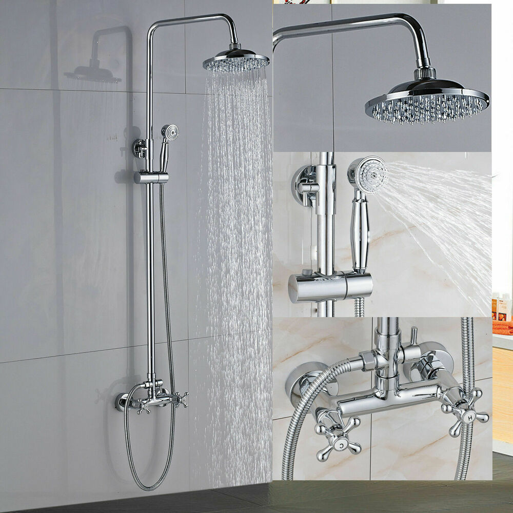 Chrome Wall Mounted Shower Faucet Single Handle Tub Spout