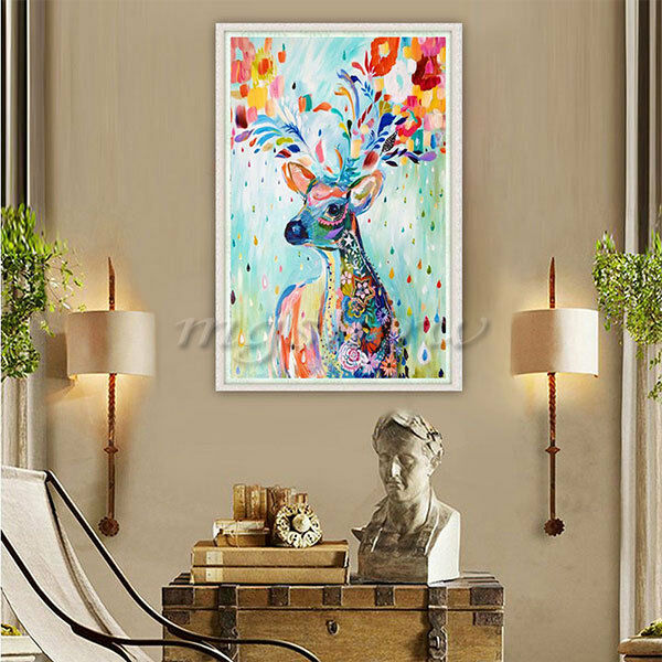 Diy 5d diamond painting embroidery colorful deer cross for Room decor 5d