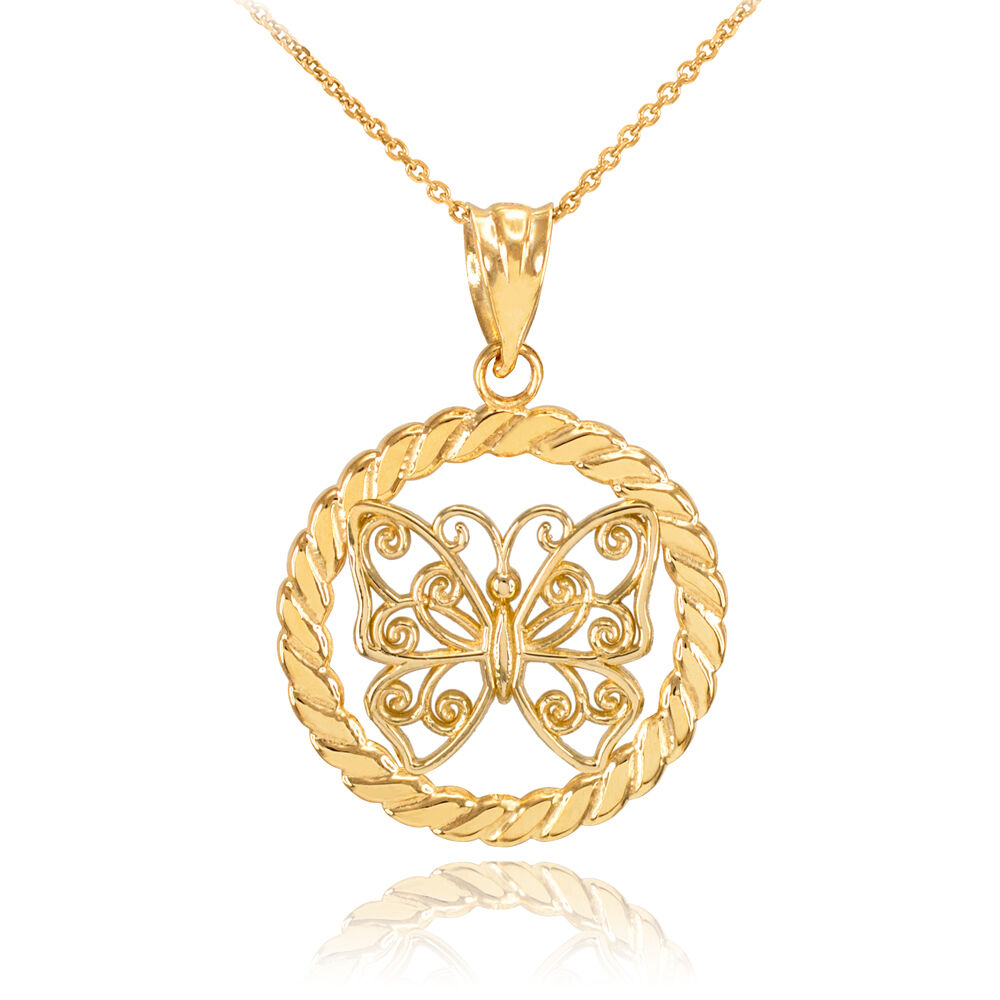 gold filigree butterfly in circle rope pendant necklace ebay